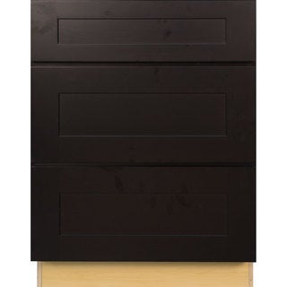 Everyday Cabinets 24-inch Dark Espresso Shaker 3 Drawer Base Kitchen Cabinet