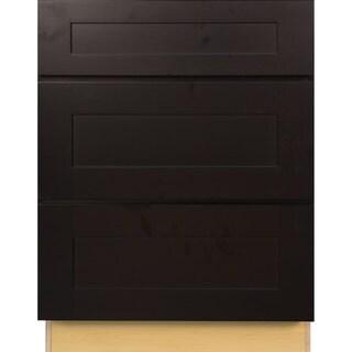 Everyday Cabinets 30-inch Dark Espresso Shaker 3 Drawer Base Kitchen Cabinet