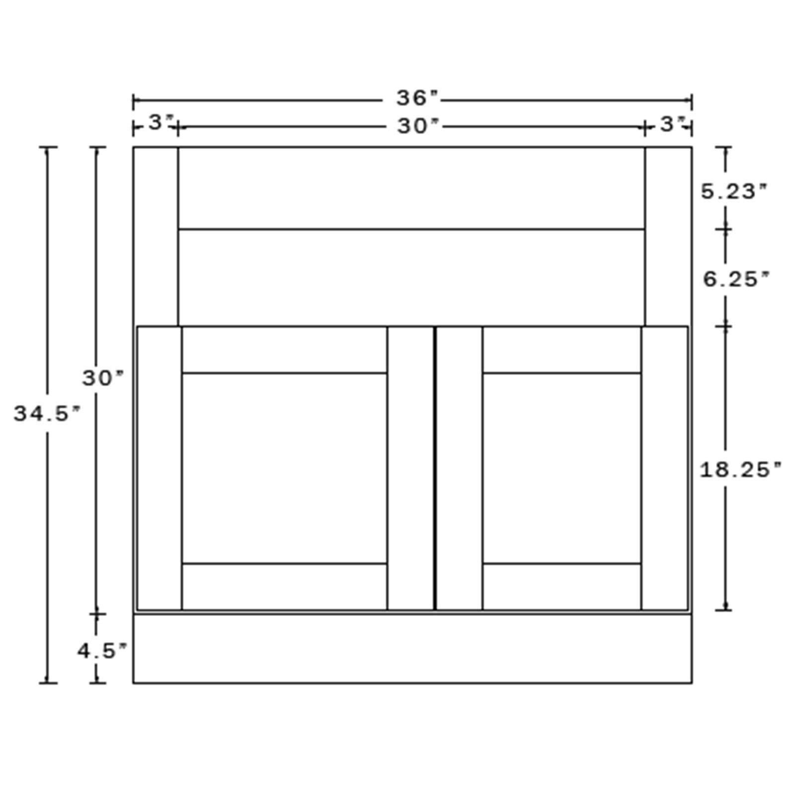 Everyday Cabinets 36 Inch Dark Espresso Shaker Farmhouse Apron Sink Base Kitchen Cabinet