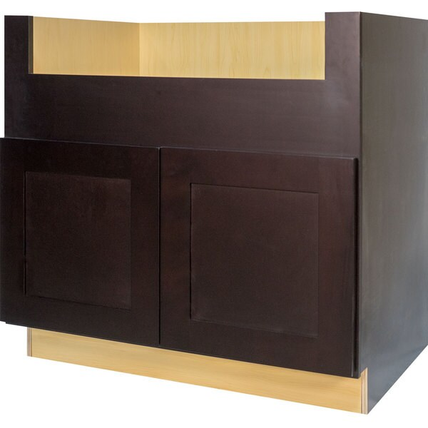 Everyday cabinets 36 inch dark espresso shaker farmhouse for Kitchen cabinets 36 inch