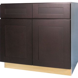 Everyday Cabinets 36-inch Dark Espresso Shaker Sink Base Kitchen Cabinet
