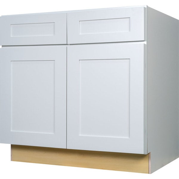 Everyday cabinets 36 inch white shaker base kitchen for Kitchen cabinets 36 x 18