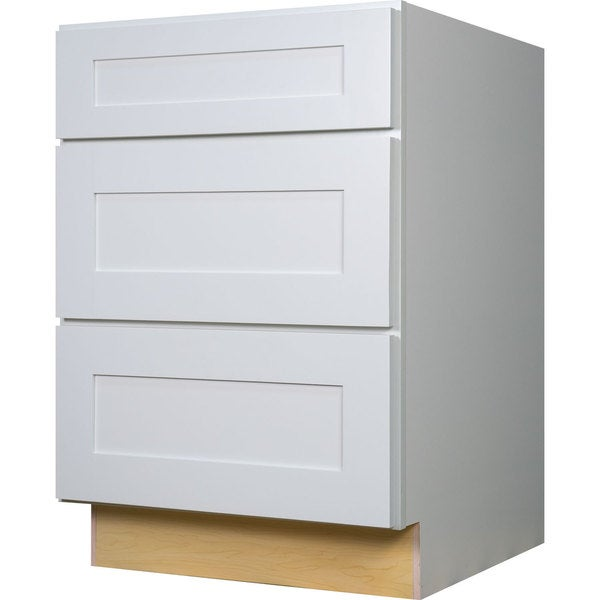 Everyday cabinets 36 inch white shaker 3 drawer base for Kitchen cabinets 36 inch