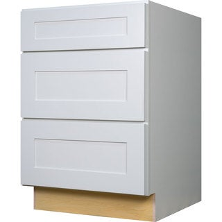 Everyday Cabinets 36-inch White Shaker 3 Drawer Base Kitchen Cabinet