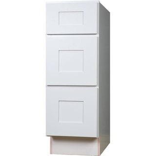 Everyday Cabinets 15-inch White Shaker 3 Drawer Base Kitchen Cabinet