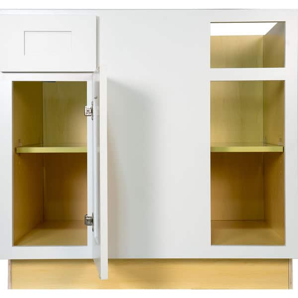 Shop Everyday Cabinets 42 Inch White Shaker Blind Corner Base Kitchen Cabinet Right Overstock 12315239
