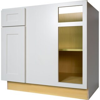 Everyday Cabinets 42-inch White Shaker Blind Corner Base Kitchen Cabinet Right