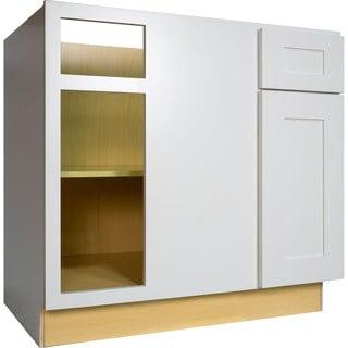 Everyday Cabinets 42-inch White Shaker Blind Corner Base Kitchen Cabinet Left