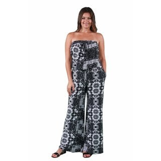 24/7 Comfort Apparel Women's Plus Size Geometric Floral Print Jumpsuit