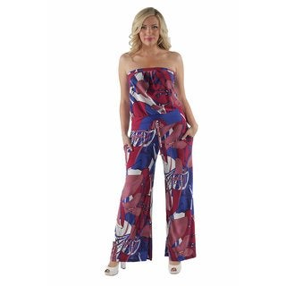 24/7 Comfort Apparel Women's Abstract Floral Strapless Plus Size Jumpsuit