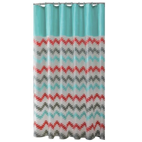 Bath Bliss Chevron Design PEVA Shower Curtain with 12 Hook Set in Coral & Aqua