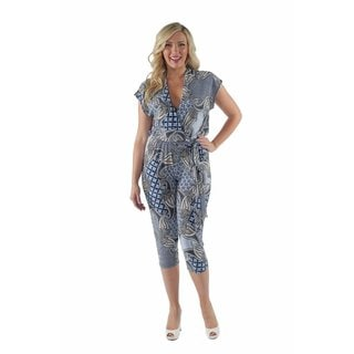 24/7 Comfort Apparel Woman's Multi-color Abstract Paisley Plus Size Jumpsuit