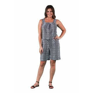 24/7 Comfort Apparel Women's Plus Size Black&White Geometric Tank and Short Jumpsuit