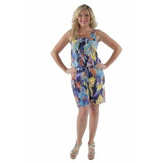 24/7 Comfort Apparel Women's Water-color Floral Plus Size Romper