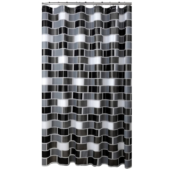 Bath Bliss Brick Design PEVA Shower Curtain with 12 Hook Set in White, Grey & Black