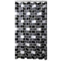 Bath Bliss Brick Design PEVA Shower Curtain with 12 Hook Set in White, Grey & Black