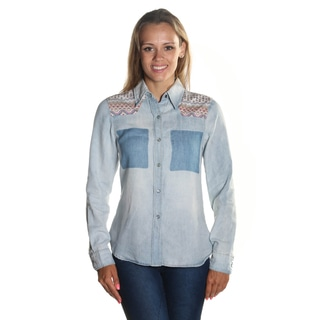 Hadari Women's Long Sleeve Button Down Wing Collar Neckline Denim Blouse with Pink Chevron Shoulder Patterned Print Denim