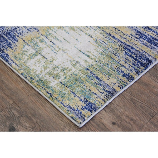Shop Turkish Abstract Blue Yellow Off White Area Rug 2