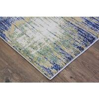 Turkish Abstract Blue/ Yellow/ Off White Area Rug - 2'7 x 5'