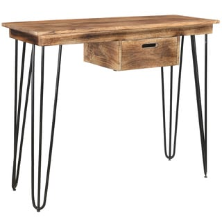 Jaydo Natural Burnt Mango Wood/ Black Iron Console