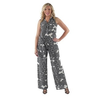 24/7 Comfort Apparel Women's Abstract Mosaic Strapless Plus Size Jumpsuit