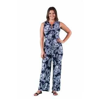 24/7 Comfort Apparel Women's Plus Size Navy Paisley Sleeveless Jumpsuit