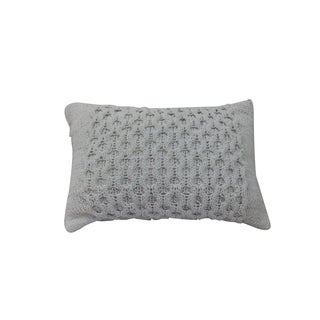 Off White Cotton 14-inch x 20-inch Knit Pillow