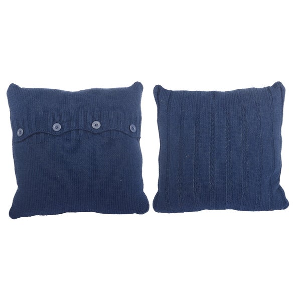 Blue Woven Polyester Button-front Throw Pillow