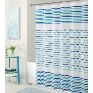 Bath Bliss Blue & Green Dot and Stripe Design PEVA Shower Curtain