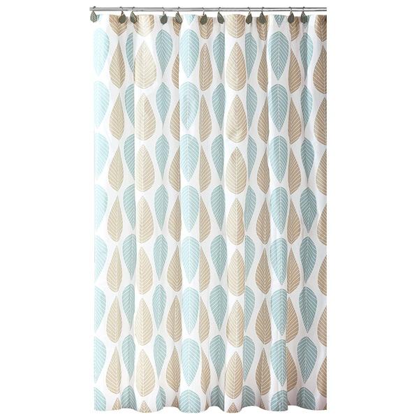 Bath Bliss Beige & Blue Leaf Design PEVA Shower Curtain