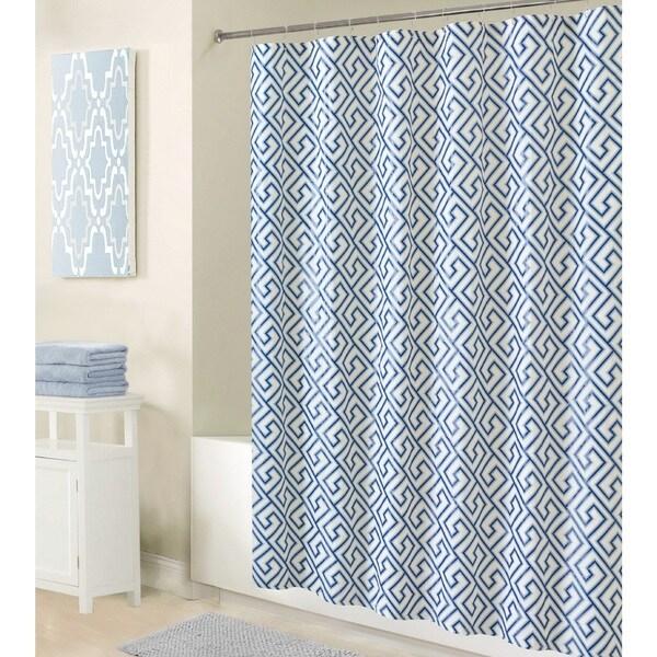 Bath Bliss Greek Key Design Shower Liner in Blue