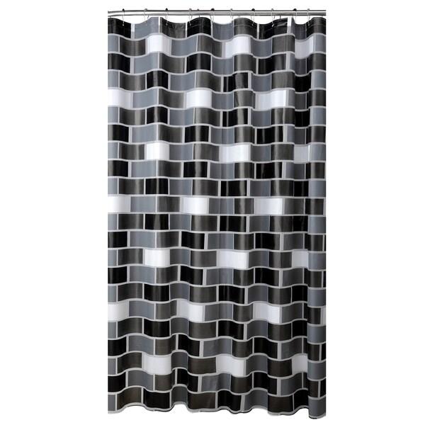 Bath Bliss Brick Design PEVA Shower Curtain In White Grey Amp