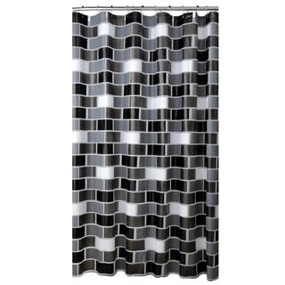 Bath Bliss Brick Design PEVA Shower Curtain in White, Grey & Black