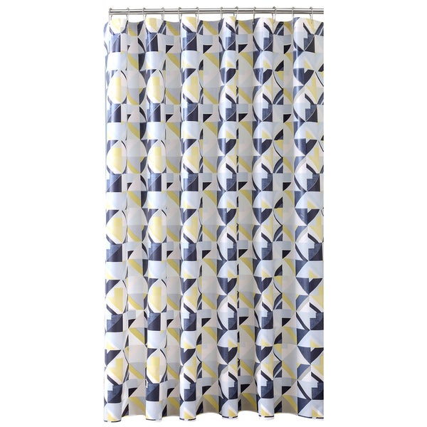 Bath Bliss Geometric Design PEVA Shower Curtain