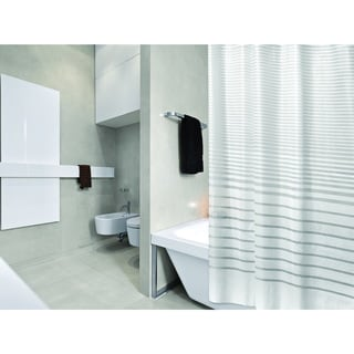 Bath Bliss Stripe Design PEVA Shower Curtain in White