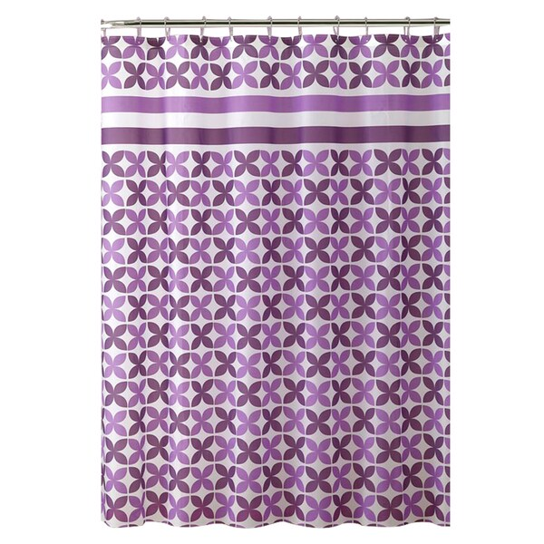 Bath Bliss PinWheel Design PEVA Shower Curtain in Purple