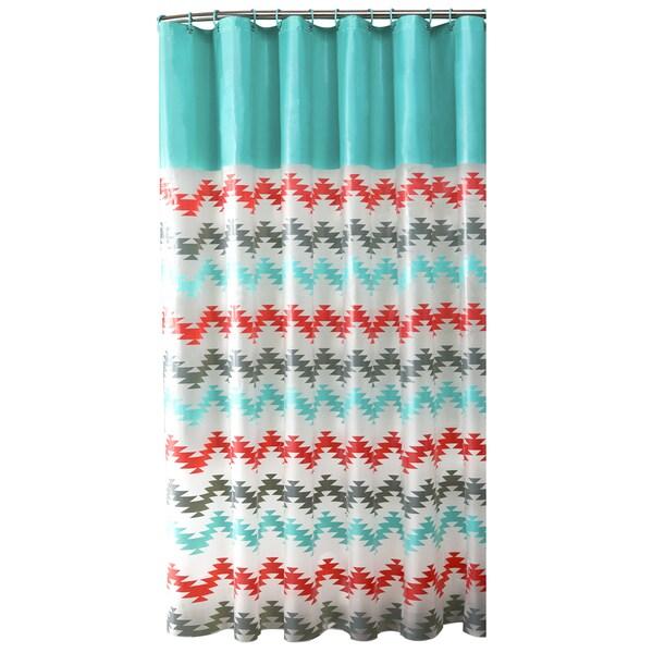 Bath Bliss Chevron Design PEVA Shower Curtain in Coral & Aqua
