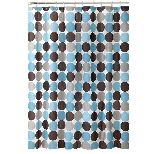 Bath Bliss Circles Design PEVA Shower Curtain in Blue & Grey