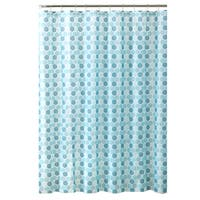 Bath Bliss Hexagon Design PEVA Shower Curtain in Spa Blue