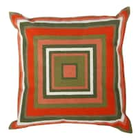 Embroidered Red/Green Cotton 18-inch Throw Pillow
