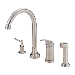 Danze Melrose 1H High-Rise Kitchen Faucet w/ Soap Dispenser Spray 1 75gpm Aeration/2 2gpm Spray Stainless Steel D409112SS