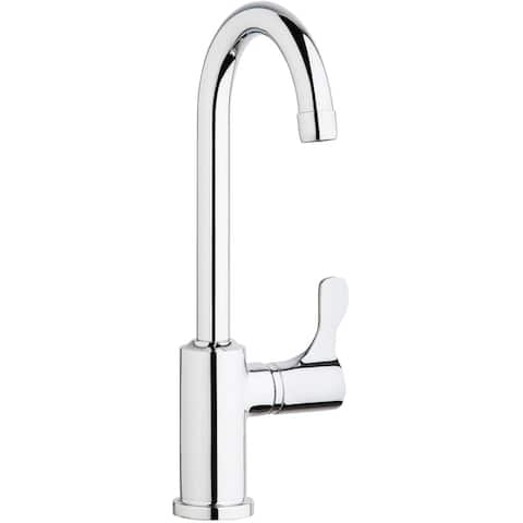"Elkay Single Hole 12-1/2"" Deck Mount Faucet with Gooseneck Spout Lever Handle on Right Side Chrome"