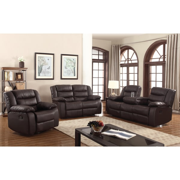 Shop Gloria Faux Leather 3 Piece Living Room Sofa Set Free Shipping Today