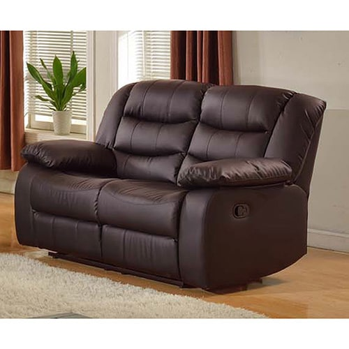 Gloria Faux-Leather Living Room Reclining Loveseat in Bla...