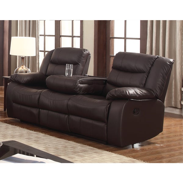 Best Leather Reclining Sofa Brands: Shop Gloria Faux Leather Living Room Reclining Sofa With