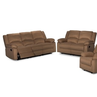Contemporary 2-piece Microfiber Fabric Reclining Sofa Set
