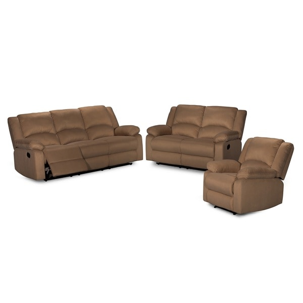 Recliner Sofa Sets: Shop Contemporary 3-piece Microfiber Fabric Reclining Sofa
