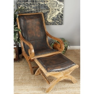 Brown Mahogany and Leather Chair and Ottoman Set
