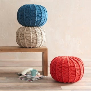 VCNY Single Cable Knitted Round Pouf