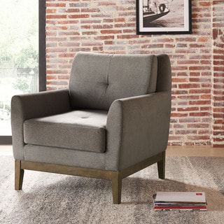 Colton Grey Upholstered Arm Chair with Wood Base